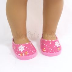 "18"" Doll Pink Shoes, Slip On Flats, Pink Floral Shoes fits American Girl Dolls"