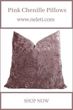 Throw Pillow - Pink Chenille Pillows Handmade Cushion Covers, Handmade Cushions, Decorative Pillow Covers, Throw Pillow Covers, Throw Pillows, How To Make Pillows, Velvet Pillows, Boho Decor, Fabric