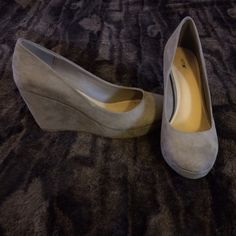 Nude wedge heels Worn once for an event. Perfect condition! Faux suede material, wedged heel. Brand=apt9 Steve Madden Shoes Wedges