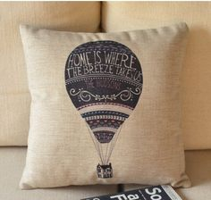 Hot air balloon cartoon fresh art sofa cushion and by mydreamhomes
