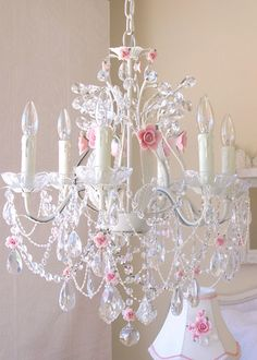 6-Light Crystal Chandelier with Pink Porcelain Roses. #laylagrayce #chandelier