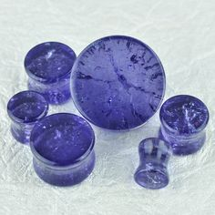 """Amethyst """"Cracked"""" Glass Plugs - Clearance"""