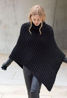 Knitting Patterns Poncho Lana Grossa PONCHO PATENT Cashsilk (Did not find pattern but could be ordered I am sure).Poncho in Schwarz - warm und super elegantOur ladies vests and find out stylish quilted gilets of highest quality, provided keep you stylishl Poncho Crochet, Poncho Knitting Patterns, Knitted Poncho, Hand Knitting, Knitting Scarves, Crochet Patterns, Crochet Vests, Chunky Crochet, Shawl Patterns