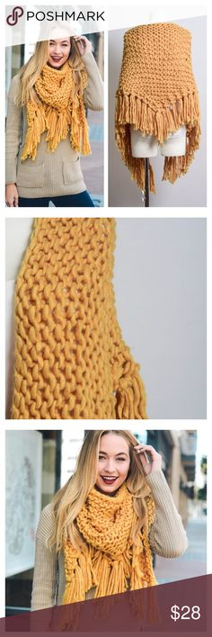 "New Arrival- Oversized Knit Scarf, Chunky Scarf LOVE THIS! Oversized knit tassel triangular scarf. So soft, warm, and cozy. This will definitely keep you warm during those cold fall/winter days. Add a pop of color to any outfit  with this luxurious shade of mustard. 100% soft and smooth Acrylic. Dimensions: 15""X70. Tassel is 6"" long. Brand new. Price is firm unless bundled. Thank you. Accessories Scarves & Wraps"
