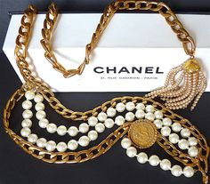CHANEL Pearl Chain Belt Rare CHANEL Vintage CC by VintageParisLuxe