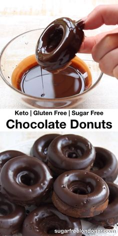 Keto Chocolate Donuts – Sugar Free & Gluten Free There's only one thing better than donuts, and that's chocolate donuts. Keto chocolate donuts, to be precise – this easy recipe tastes just like the real thing, only without all the… Continue Reading → Low Carb Sweets, Low Carb Desserts, Easy Desserts, Protein Donuts, Keto Donuts, Baked Donuts, Donuts Donuts, Healthy Donuts, Sugar Free Donuts