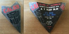Custom Transformers Theme Paper Airplane Invitation! Personalize Verbiage, Colors & More! Perfect for Birthdays, Announcements, Etc!