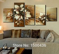 Hand Painted Abstract Brown Flowers Decorative Canvas Painting 5 Piece Modern Wall Art Large Oil Picture Home Set