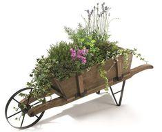 Decorative Classic French Wooden Wheelbarrow Planter - x Rustic Wheelbarrows, Wooden Wheelbarrow, Wheelbarrow Garden, Rustic Gardens, Outdoor Gardens, Wheel Barrow Ideas, Wheel Barrel Planter, Pine Garden, Wooden Cart