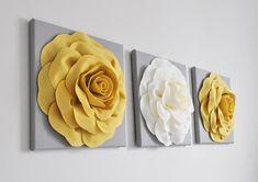 Grey Wall Art, 3d Wall Art, Wall Art Sets, Felt Flowers, Paper Flowers, Paper Flower Wall, Rose Flowers, Flower Wall Decor, Flower Decorations