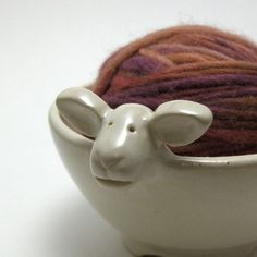 Lamb shaped ceramic yarn bowl in eggshell small