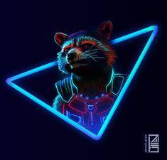 Neon Rocket (Made by Marvel Comics, Marvel Avengers, Marvel Art, Marvel Heroes, Flash Comics, Avengers Pictures, Neon Wallpaper, Rocket Raccoon, Racoon