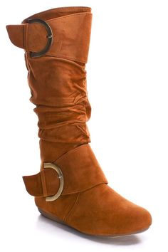 TAN BUCKLE RUCHED BOOTS