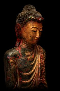 """Look closely at cloth, you see only threads. Look closely at creation, you see only Self."" —Ashtavakra Gita (Sculpture: Extremely Rare 19C Standing Mandalay Burma Buddha) ..*"