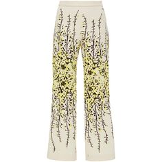 Giambattista Valli Flared Floral Trousers (47 090 UAH) ❤ liked on Polyvore featuring pants, white flared trousers, flared pants, white pants, flower print pants en flare trousers