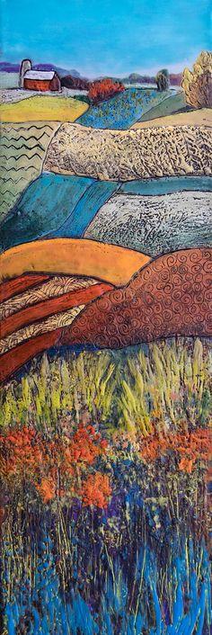 Fall Fields - Encaustic by Linda Virio