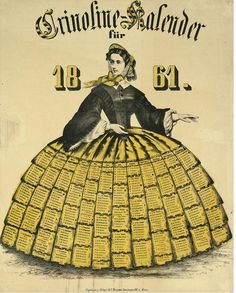 auctionguide:  Crinoline calendar for 1861. Representation of a young woman on her skirt, the 12 months of the year. Galerie Bassenge, Decorative Prints, Berlin Germany, Oct 19th