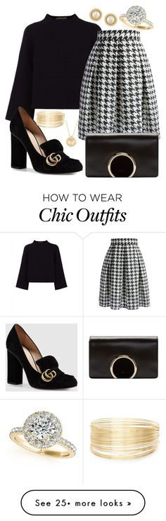 """Classic"" by sommer-reign on Polyvore featuring Jaeger, Chicwish, Gucci, Chloé, New Look, Carolee and Allurez"