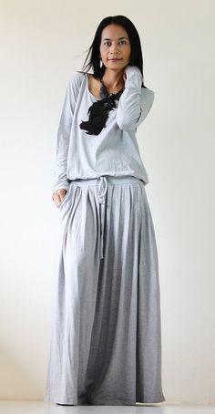 Long Maxi Dress  Light Grey Long Sleeve dress  Autumn by Nuichan, $59.00