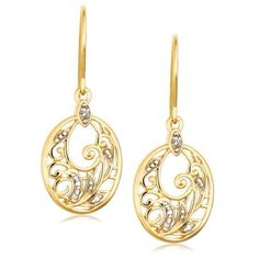 Yellow Gold Plated Sterling Silver Diamond Accent Floral Dangle Earrings: Jewelry: Amazon.com  $22.99