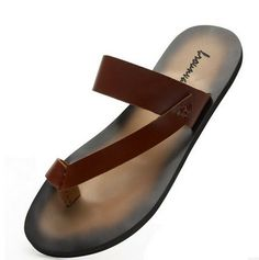 2014 new arrival mens flip-flop slippers summer casual male genuine leather beach slippers breathable flip flops free shipping US $54.99