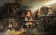ArtStation - steam punk town concept, Ast Ralf