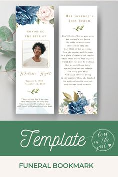 I designed this beautiful funeral bookmark template with blue roses so   you can honour and celebrate the life of your loved one as she.    #funeral, #funeralprogram, #funeralprogramtemplate,  #obvituarytemplate, #celebrationoflife, #memorialprogram Funeral Reception, Bookmark Template, Memorial Cards, A4 Paper, Blue Roses, All Fonts, Keepsakes, Celebration, Floral
