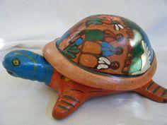 Pottery Multi Colored TURTLE Figurine TRINKET TREASURE JEWELRY BOX