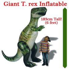 Giant Inflatable T. rex available from Everything Dinosaur (from £19.99 plus postage). T. rex measures 1.83 metres high (six feet tall).