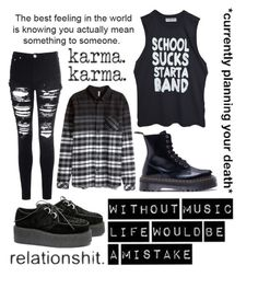 """""""Untitled #8"""" by music-saved-mylife ❤ liked on Polyvore featuring Dr. Martens, Glamorous and H&M"""