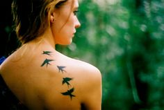 Birds sing beautiful songs, just like a siren. cool forest tattoo on back - Google Search