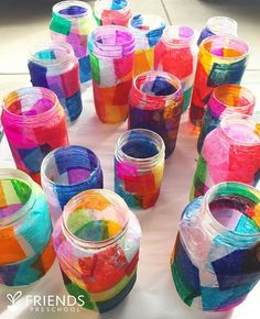 Hold onto your socks, because these stained-glass-esque tissue paper jars are about to knock them off. We LOVE Spring and, really, who… Mason Jar Crafts, Mason Jars, Crafts For Teens, Gifts For Kids, Diy And Crafts, Arts And Crafts, Kids Crafts, Tissue Paper Crafts, Scrapbook