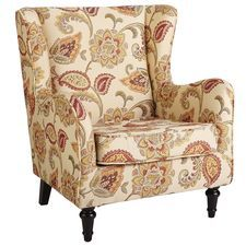 Claudio Jacobean Ochre Wing Chair