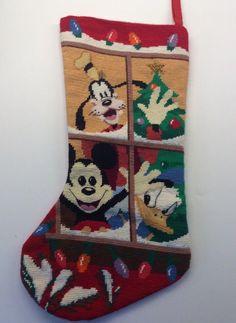 Disney Christmas Needlepoint Stocking Mickey Goofy Donald Window Pane Lights  | eBay