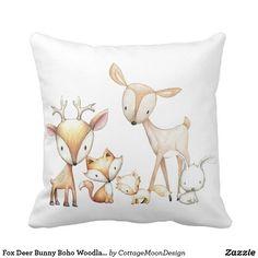 Fox Deer Bunny Boho Woodland Baby Nursery Pillow