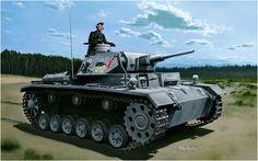 Panzer III Ausf. G (5 cm) de la 3e Tauchpanzer Panzerdivision. préparé en vue de l'invasion de l'Angleterre (Leon Marin) en 1940, ils étaient équipés avec des équipements pour la conduite sous-marine. Bien qu'ils aient été utilisés pour traverser la rivière Bug en Russie
