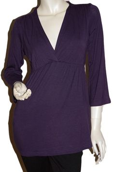 #share Ripe Maternity - Virtue Express Breastfeeding Top - Dark Purple with 3/4 Sleeves - avail for shipping now from Melbourne Australia. Free Shipping for orders over $50 (Australia only)