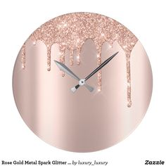 Shop Rose Gold Metal Spark Glitter Drip Blush Glitter Large Clock created by luxury_luxury. Resin Wall Art, Epoxy Resin Art, Diy Resin Art, Resin Artwork, Diy Resin Crafts, Clock Art, Diy Clock, Big Wall Clocks, Acrylic Pouring Art