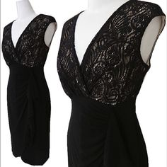 """LBD with Lace New with tags! Little black dress with tulip hem and lace overlay on top. Size 4 (small/medium - jersey material allows for flexible fit). Approximately 39"""" long. 95% polyester, 5% spandex / 100% polyester lining. London Times Dresses Midi"""