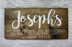 Family Name {Joshua 24:15} Wooden Sign by VelleDesigns on Etsy