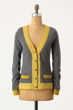 Anthropologie Felted Colorbar Cardigan Vibrant wool creates a bold border around the edges of Charlie & Robin's sweater. Cute Cardigans, Cute Sweaters, Look Fashion, Womens Fashion, Fashion Trends, Style Me, Cool Style, Yellow Cardigan, Fall Cardigan