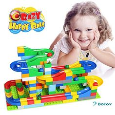 Marble Runs - DoToy Marble Run 125 Pieces Set Kids Mentality Marble Track Building Block including 6 Marbles -- Details can be found by clicking on the image. Marble Tracks, Running Gif, Building Toys, Girl Birthday, Kids Toys, Marbles, Education, Marble Runs, Children