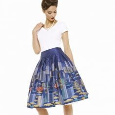 'Tippi' NYC Navy Blue Swing Skirt