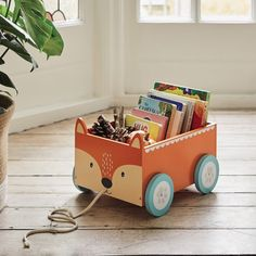 Fox Book Storage Cart, Great Little Trading Co - Mr. Fox Book Storage Cart, Great Little Trading Co Mr. Fox Book Storage Cart, Great Little Trading Co. Storage Cart, Craft Storage, Storage Ideas, Book Storage Kids, Storage Design, Storage Organization, Children Storage, Plywood Storage, Playroom Furniture