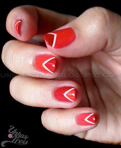 Red Chevron Tip Nails