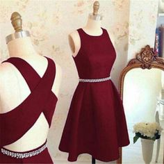 Simple Burgundy Red Stain Short Homecoming Dresses, Beaded Knee Length Prom Gowns Cheap HCD48 Short Prom Dresses, Homecoming Dresses, Prom Gowns, Party Dresses, Graduation Dresses, Short Prom Dresses, Gowns Prom, Cheap Prom Gowns on Line