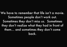 Could not be more pertinent in my life right now. Except I'm the one who's never going back. Such a waste...