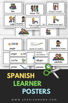Spanish learner posters to give visual support for instructions and directions in Spanish class. Spanish Classroom Decor, Classroom Ideas, Spanish Teacher, Teaching Spanish, Spanish Posters, Teacher Lesson Plans, Spanish Activities, School Tips, Bulletin Board
