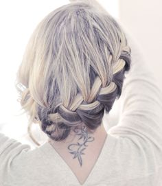 side french braid low updo.
