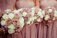 Image by Lola Rose Photography. Wedding bouquet. pink roses. blush roses. White roses, Ivory roses. Bridesmaid bouquets.